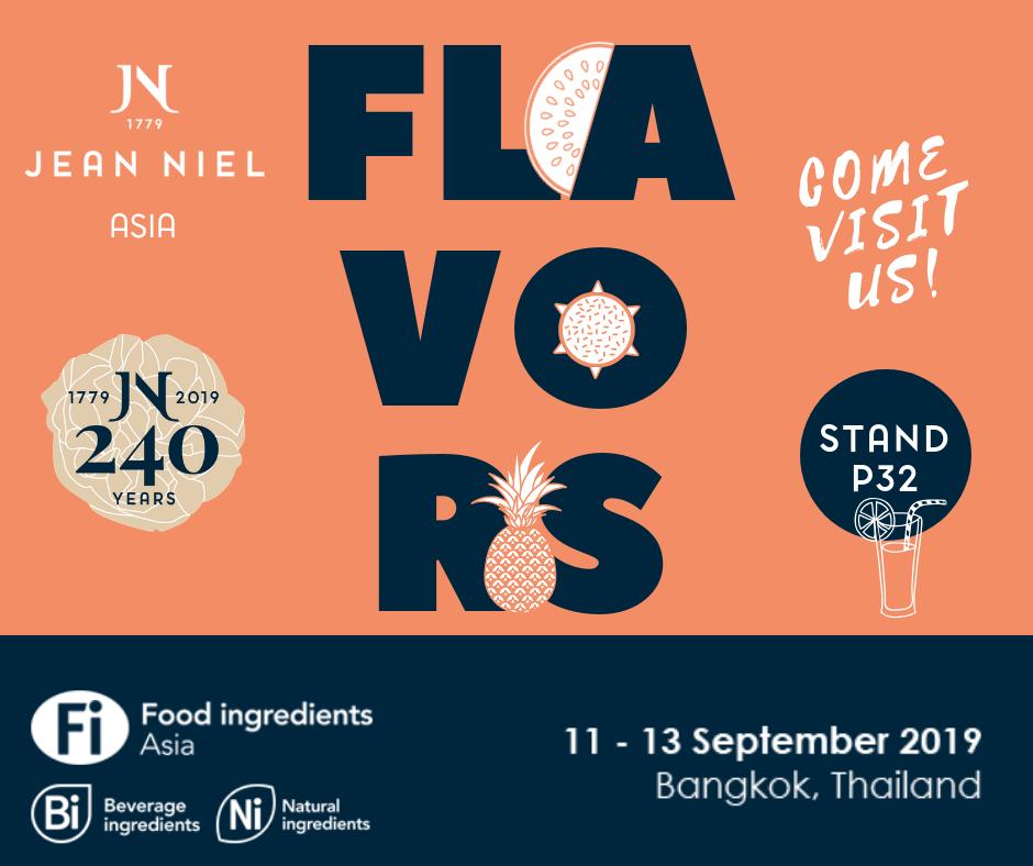 Jean Niel expose au salon Food Ingredients Asia du 11 au 13 septembre 2019